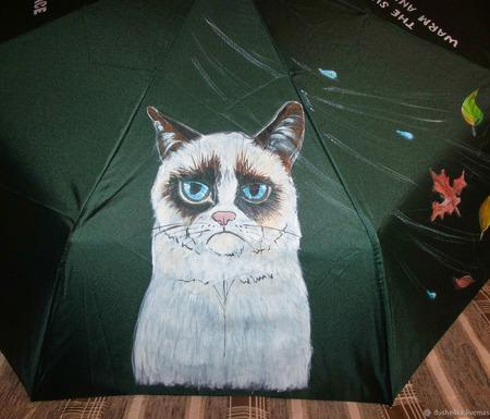 """Зонт с ручной росписью """"Угрюмый кот"""" (Grumpy Cat) ручной работы на заказ"""