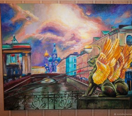 """Интерьерная картина """"Санкт-Петербург - город счастья"""" ручной работы на заказ"""
