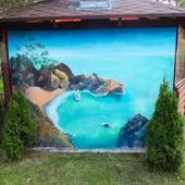 """Роспись стен фасада беседки """"Морской пейзаж"""""""