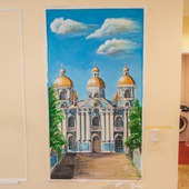 """Роспись стен гостиной """"Никольский Морской собор СПб"""""""