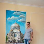 """Роспись стен гостиной """"Кронштадт. Никольский собор"""""""