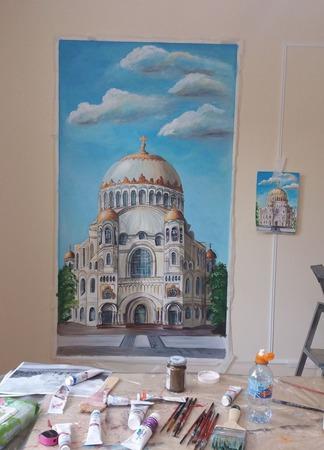 """Роспись стен гостиной """"Кронштадт. Никольский собор"""" ручной работы на заказ"""