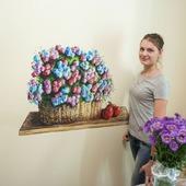 """Роспись стен  кухни """"Корзина с цветами"""""""