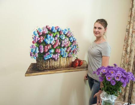 """Роспись стен  кухни """"Корзина с цветами"""" ручной работы на заказ"""