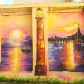 """Роспись стен фасада ресторана """"Морской пейзаж"""""""