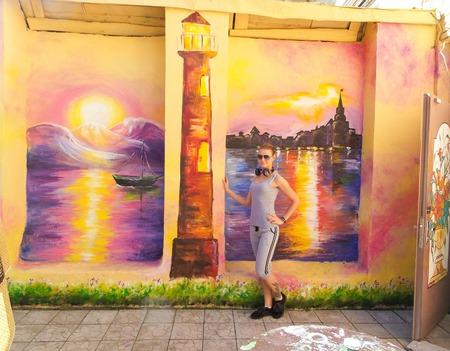 """Роспись стен фасада ресторана """"Морской пейзаж"""" ручной работы на заказ"""
