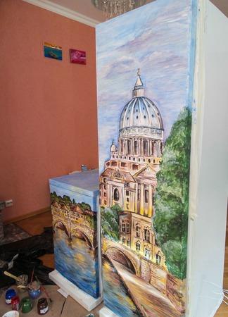 Роспись стен (холодильника) ручной работы на заказ