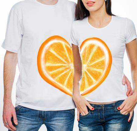 """Парные футболки для влюбленных """"Апельсины"""" ручной работы на заказ"""