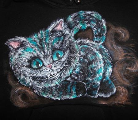 """Толстовка, свитшот с ручной росписью """"Чеширский кот"""" ручной работы на заказ"""