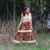 Льняное платье в стиле бохо летнее