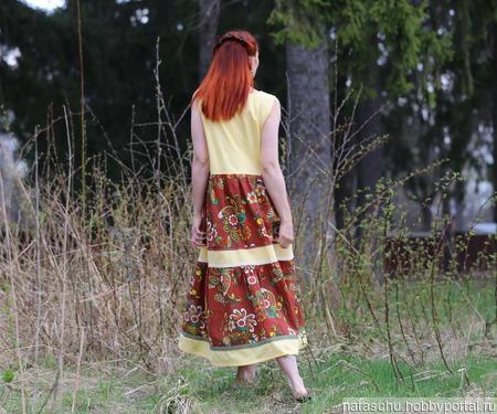 Льняное платье в стиле бохо летнее ручной работы на заказ