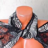 """Черно-белый кружевной палантин ручной работы """"Паутинка"""" модель 1"""