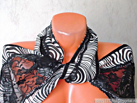 """Черно-белый кружевной палантин ручной работы """"Паутинка"""" модель 1 ручной работы на заказ"""