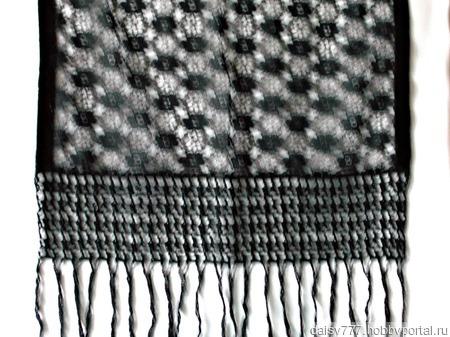 """Черный кружевной палантин ручной работы """"Паутинка"""" модель 3 ручной работы на заказ"""