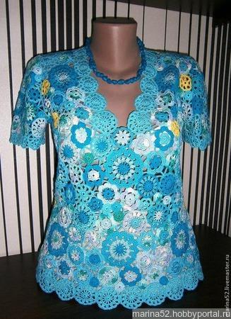 "Блуза ""Бирюза"" ручной работы на заказ"