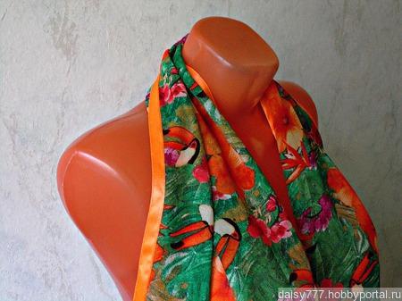 """Палантин ручной работы """"Оранжевый попугай"""" модель 1 ручной работы на заказ"""