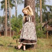 Батистовое платье с льняной юбкой