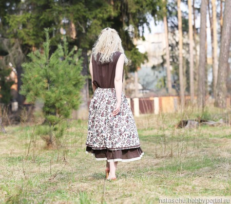 Батистовое платье с льняной юбкой ручной работы на заказ
