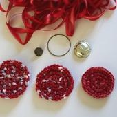Основы для брошей украшений вязаные красные