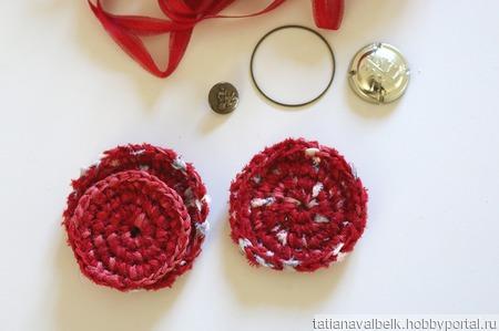 Основы для брошей украшений вязаные красные ручной работы на заказ