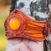 Рыжий браслет с лентой шибори