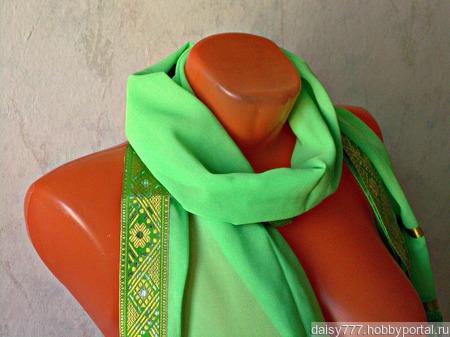 """Палантин ручной работы """"Зеленая лужайка"""" модель 3 ручной работы на заказ"""