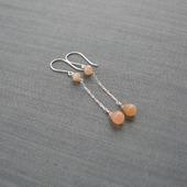 """Серьги """"Caramel"""" из серебра с лунным камнем"""
