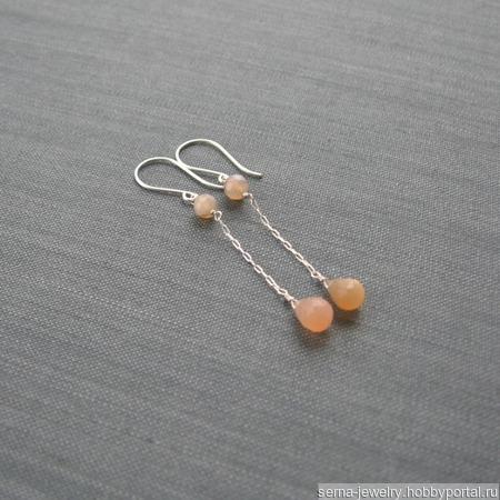 """Серьги """"Caramel"""" из серебра с лунным камнем ручной работы на заказ"""