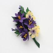 Брошь желто-фиолетовый букетик цветов из фоамирана