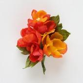"""Брошь цветы из шелка оранжевые красные """"Огоньки"""""""