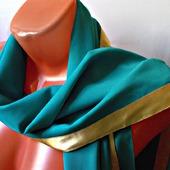 """Бирюзовый палантин ручной работы из ткани """"Морской прибой"""" модель 1"""