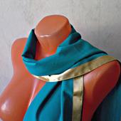 """Бирюзовый шарф ручной работы из ткани """"Морской прибой"""" модель 1"""