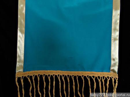 """Бирюзовый палантин ручной работы из ткани """"Морской прибой"""" модель 1 ручной работы на заказ"""