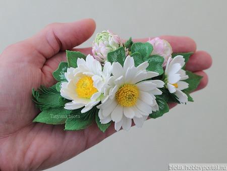 """Заколка с полевыми цветами """"Белые ромашки, розовый клевер"""" ручной работы на заказ"""