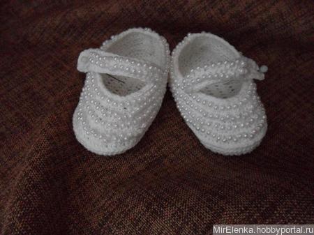 Летние белые пинетки туфельки из льна с бусинами ручной работы на заказ