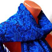 """Синий кружевной палантин ручной работы """"Синее море"""" модель 1"""