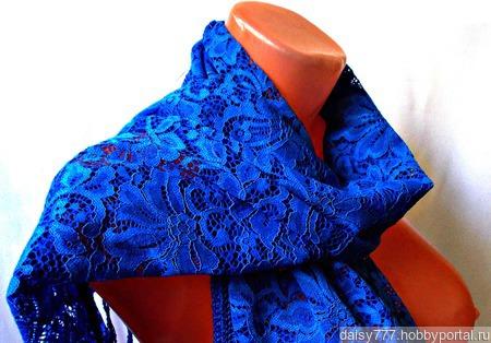 Палантин ручной работы «Синее море» ручной работы на заказ