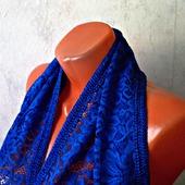 """Синий кружевной шарф ручной работы """"Синее море"""" модель 1"""