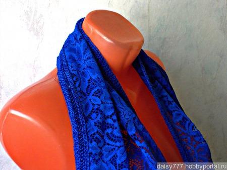 """Синий кружевной палантин ручной работы """"Синее море"""" модель 1 ручной работы на заказ"""