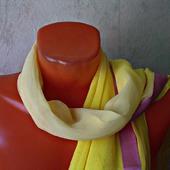 """Желтый шифоновый шарф ручной работы """"Весенний букет"""""""