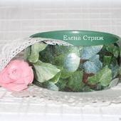 """Изумрудный женский деревянный браслет """"Зеленые Листья"""""""