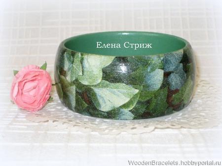 """Изумрудный женский деревянный браслет """"Зеленые Листья"""" ручной работы на заказ"""