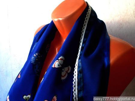 """Синий палантин ручной работы из ткани """"Баттерфляй"""" ручной работы на заказ"""