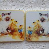 """Подставки под чашки """"Тайский котенок"""""""