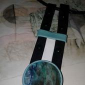 Кулон-подвеска из кожи с натуральным флюоритом
