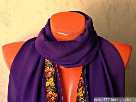 """Фиолетовый шифоновый палантин ручной работы """"Земляничная поляна"""" модель 1 ручной работы на заказ"""