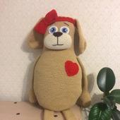 Вязаная игрушка Собака-подушка