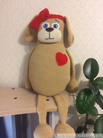 Вязаная игрушка Собака-подушка ручной работы на заказ