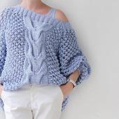 Купить вязаный хлопковый свитер оверсайз на одно плечо