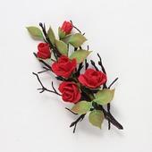 """Брошь красные розы и сухая ветка """"Возрождение"""""""